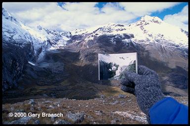 Gary Braasch at Broggi glacier, Peruvian Andes